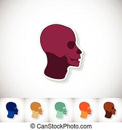 cranio, umano, head., appartamento, adesivo, con, uggia, bianco, fondo