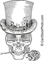 cranio umano, in, uno, cappello a cilindro