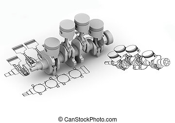 Crank 4 cylinder chart with 3d image