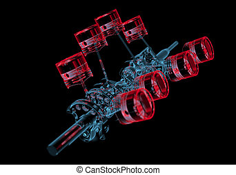 Crank shaft with pistons (3D xray red and blue transparent...
