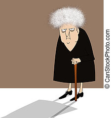 Cranky Old Lady With Cane - Funny cartoon of a crotchety old...