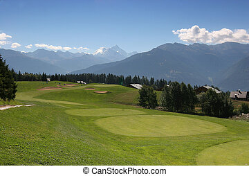 Crans Montana golf course hole 7
