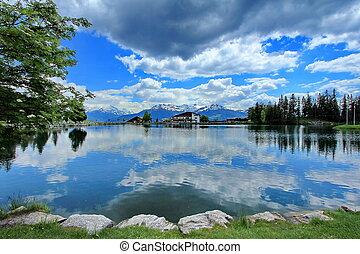 Crans-Montana, Switzerland, lake and sky blue