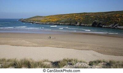 Crantock beach view to Pentire North Cornwall England UK ...