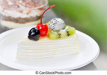 crape cake , fruit topping