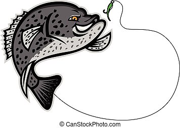 crappie-fish-jump-side-MASCOT - Mascot illustration of a...