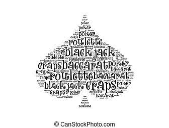 craps, roulette, baccarat, blackjack, poker text on spade...
