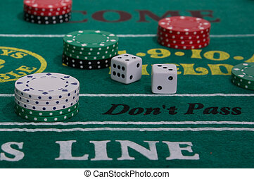 Craps table with casino chips and dice