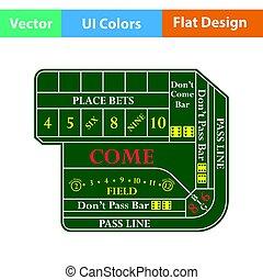 Craps table icon. Flat color design. Vector illustration.