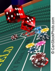 Craps table v3 - Version with Narrow Depth of Field. Casino...