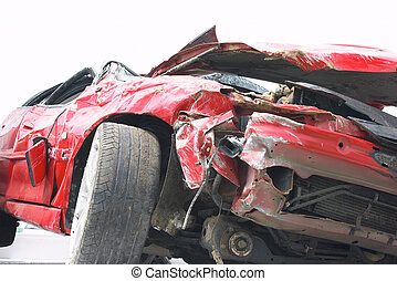 Wreckage of a car after a bad crash