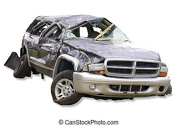 Crash - A wrecked automobile on a white background