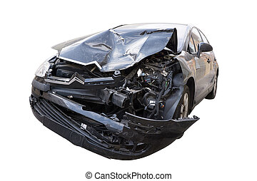 Crash Car - Front of Car in an Auto Accident isolated on...