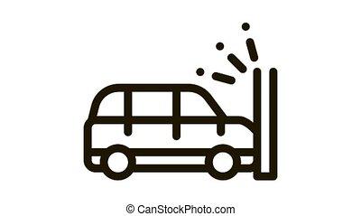 Crash Car Wall Icon Animation. black Crash Car Wall animated icon on white background