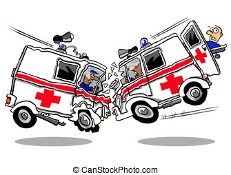 Crash. - Cartoon ambulance crash on white background