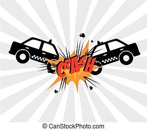 crash comics design over gray background vector illustration