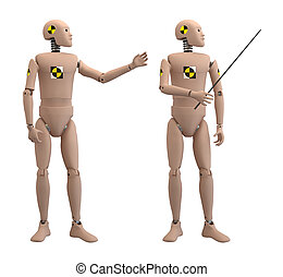 Crash dummies in some poses isolated on white with clipping paths.