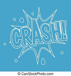Crash, explosion bubble icon, outline style
