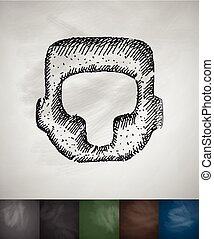 crash helmet icon. Hand drawn vector illustration