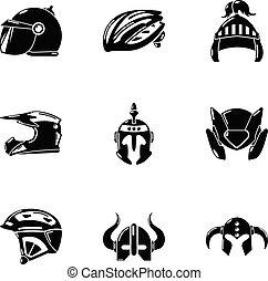 Crash helmet icons set, simple style