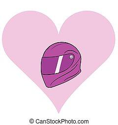 Crash helmet in pink heart