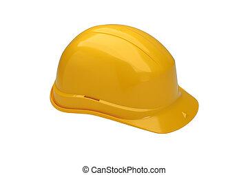 Crash helmet - The yellow crash helmet isolated on white...
