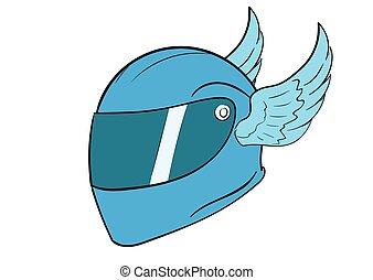 Crash helmet with wings