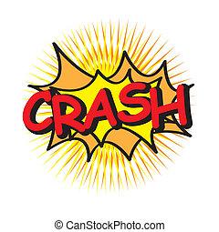 crash icon over yellow background vector illustration