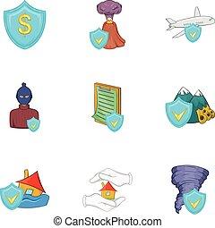 Crash icons set, cartoon style