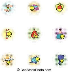 Crash icons set, pop-art style