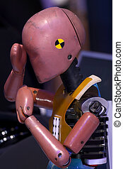 Crash test dummy - Close up shot of crash test dummy upper...