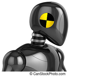 Crash Test Dummy streamlined metallic head and top part of his torso. Improved version. Left viewpoint. 3D render. Isolated on white