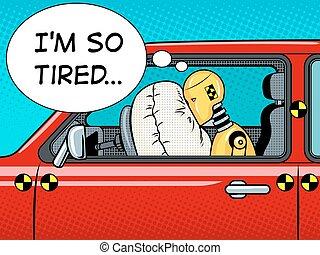 crash test dummy man head vector illustration vector