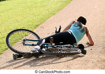crash with bicycle - Female bike rider takes a tumble on the...