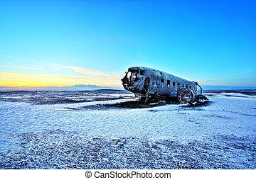 Crashed Airplane on the Black Sand Beach, Iceland