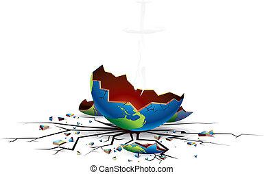 Crashed and Demolished Planet, detailed conceptual vector illustration