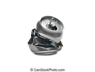 Crashed beer can on white background
