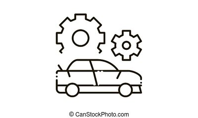 Crashed Car Icon Animation. black Crashed Car animated icon on white background