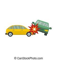Crashed car icon, flat style