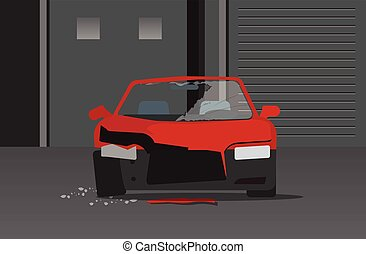 Crashed car in night street vector, concept of auto crime