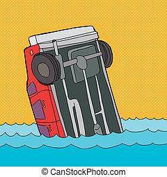 Crashed Car in Water - Cartoon of single car stuck in water