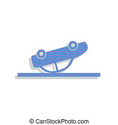 Crashed Car sign. Vector. Neon blue icon with cyclamen polka dot