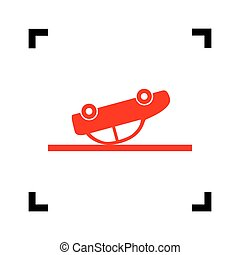 Crashed Car sign. Vector. Red icon inside black focus corners on white background. Isolated.