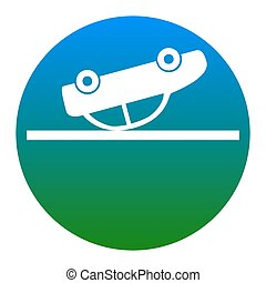Crashed Car sign. Vector. White icon in bluish circle on white background. Isolated.