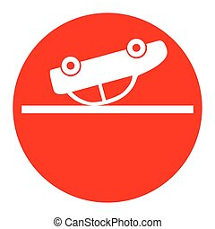 Crashed Car sign. Vector. White icon in red circle on white background. Isolated.