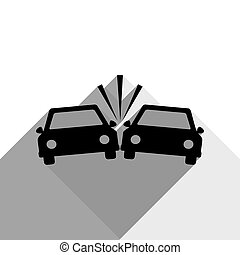 Crashed Cars sign. Vector. Black icon with two flat gray shadows on white background.