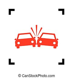 Crashed Cars sign. Vector. Red icon inside black focus corners on white background. Isolated.