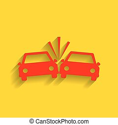 Crashed Cars sign. Vector. Red icon with soft shadow on...