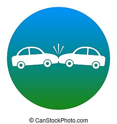 Crashed Cars sign. Vector. White icon in bluish circle on white background. Isolated.
