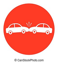 Crashed Cars sign. Vector. White icon in red circle on white background. Isolated.